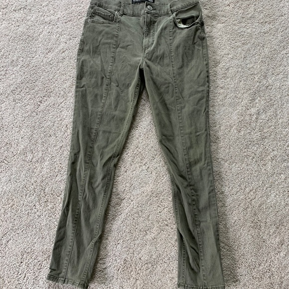Express Denim - Express High Waisted Olive Ankle Skinny Jeans